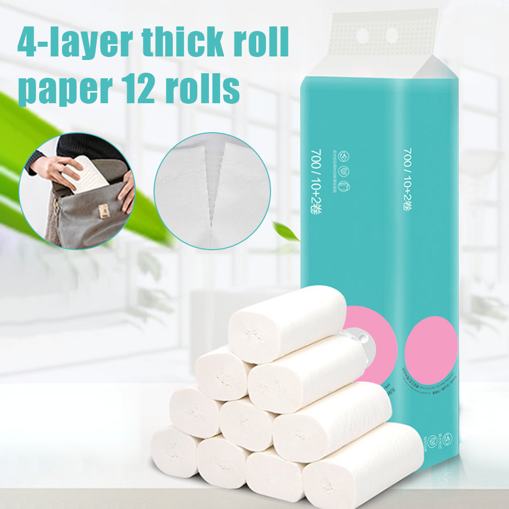 12 Roll Soft 4-Ply Toilet Paper Roll Bath Bathroom Tissue Coreless White Paper Towels New H9