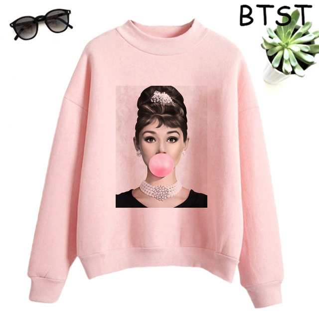 Audrey Hepburn Pink Bubble Kpop Clothes Polyester White Sweatshirt Pullovers Women Sweatshirt Japanese Gothic Harajuku Shirt 1