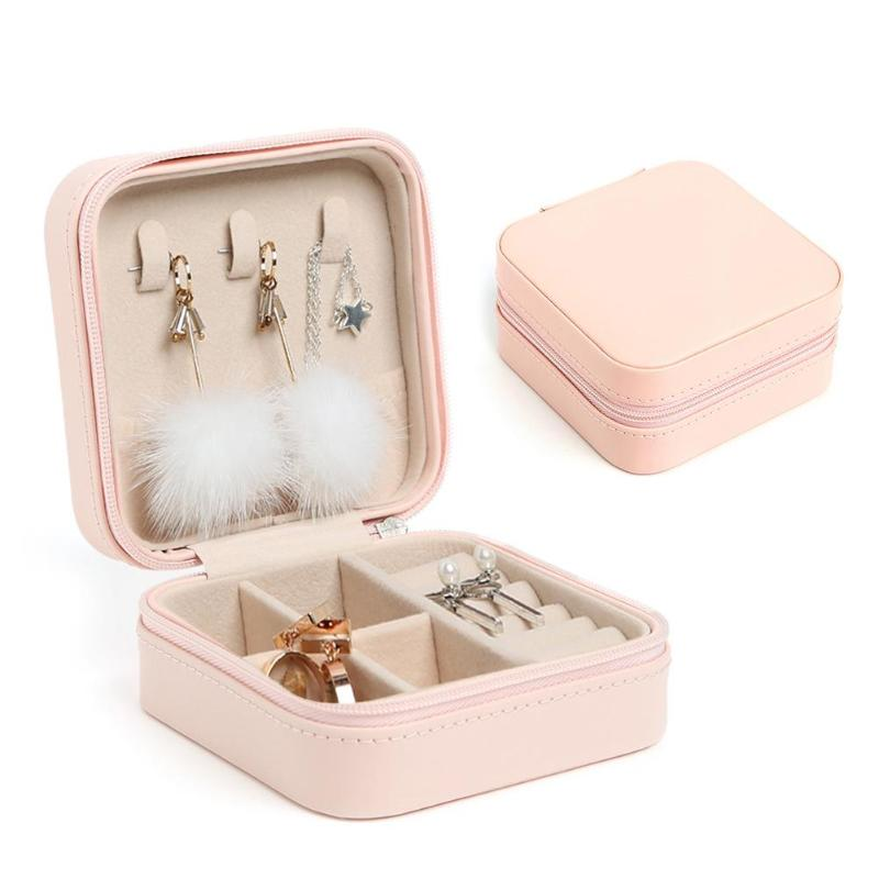 Goocheer Jewelry Box Portable Storage Organizer Earring Holder Zipper Women Leather Jewelry Display Travel Case 10x10x5cm