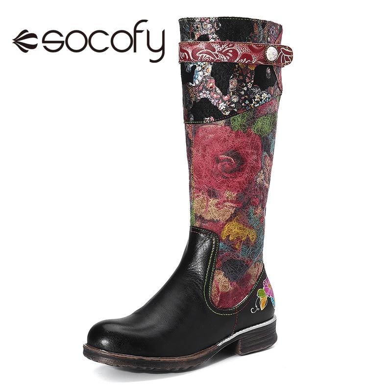 SOCOFY Flowers Cloud Women's Cowhide Low Chunky Heel Round Toe Zip Long Shoe Elegant Shoes Women Shoes Botas Mujer 2020