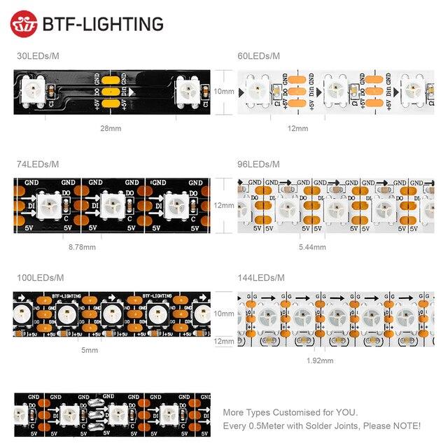 1 m/2 m/4 m/5 m WS2812B bande Led 30/60/74/96/100/144 pixels/leds/m WS2812 bande de lumière Led RGB intelligente noir/blanc PCB IP30 /65/67 DC5V 1