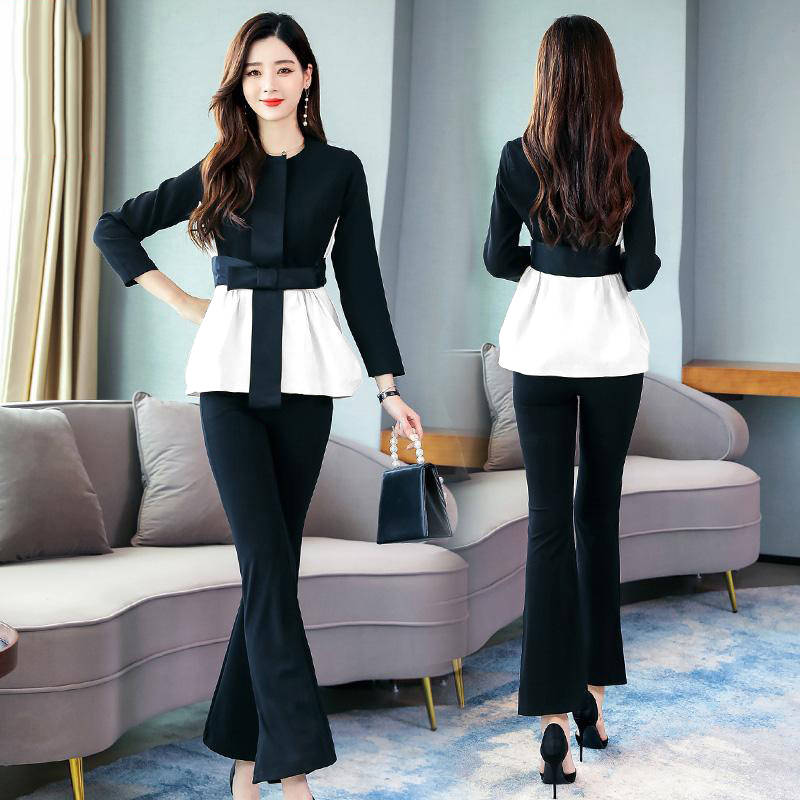 He8d3bc765c2840adb4b3b676c4924edcL - Spring Korean Elegant Black And White Patchwork 2 Piece Set Women Fashion Womens Outfits Plus Size Clothing