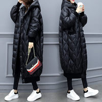 Extra Long Section Glossy Down Cotton Coat 2020 New Large Size Parka Mujer Loose Black Cotton Jacket Lady Winter Overcoat f2517