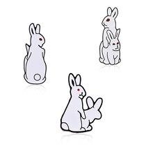 Забавные изгои Броши «кролик» мультфильм белый злой кролик животных Ювелирные изделия Эмаль Булавка джинсовые куртки воротник нагрудные значки для женщин