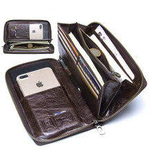 Leather man holding luxury wallet card clip long zipper clutch coin card holder passport clip 6.5in mobile phone case  Long
