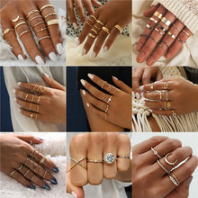 VAGZEB New Fashion Gold Color Knuckle Rings Set For Women Vintage Charm Finger Ring Female Party Jewelry Gifts Drop Shipping