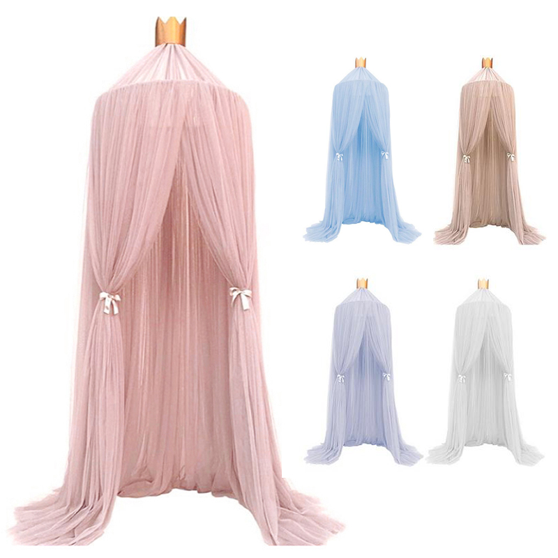 1pc Hanging Fairy Princess Mosquito Net Crown Round Screen Canopy Insect Bed Voile Garden Camping Anti-Mosquito Kids Room Decor