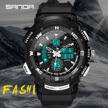 Sanda fashion men's watches waterproof multifunction led