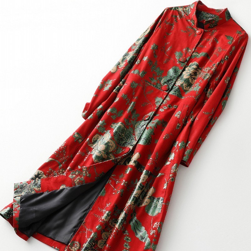 Chinese Style Printed Collar Simple Button Women Wear Leather Sheepskin Pants