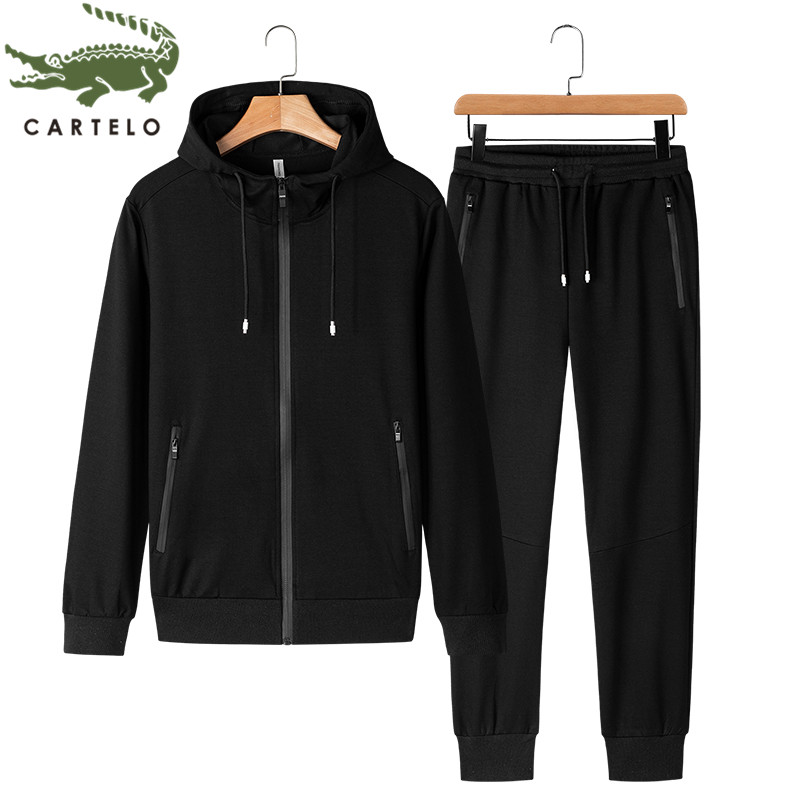 CARTELO Men's Clothing Spring New Fashion Comfortable Solid Color Cotton Zipper Couple Hooded Casual Suit