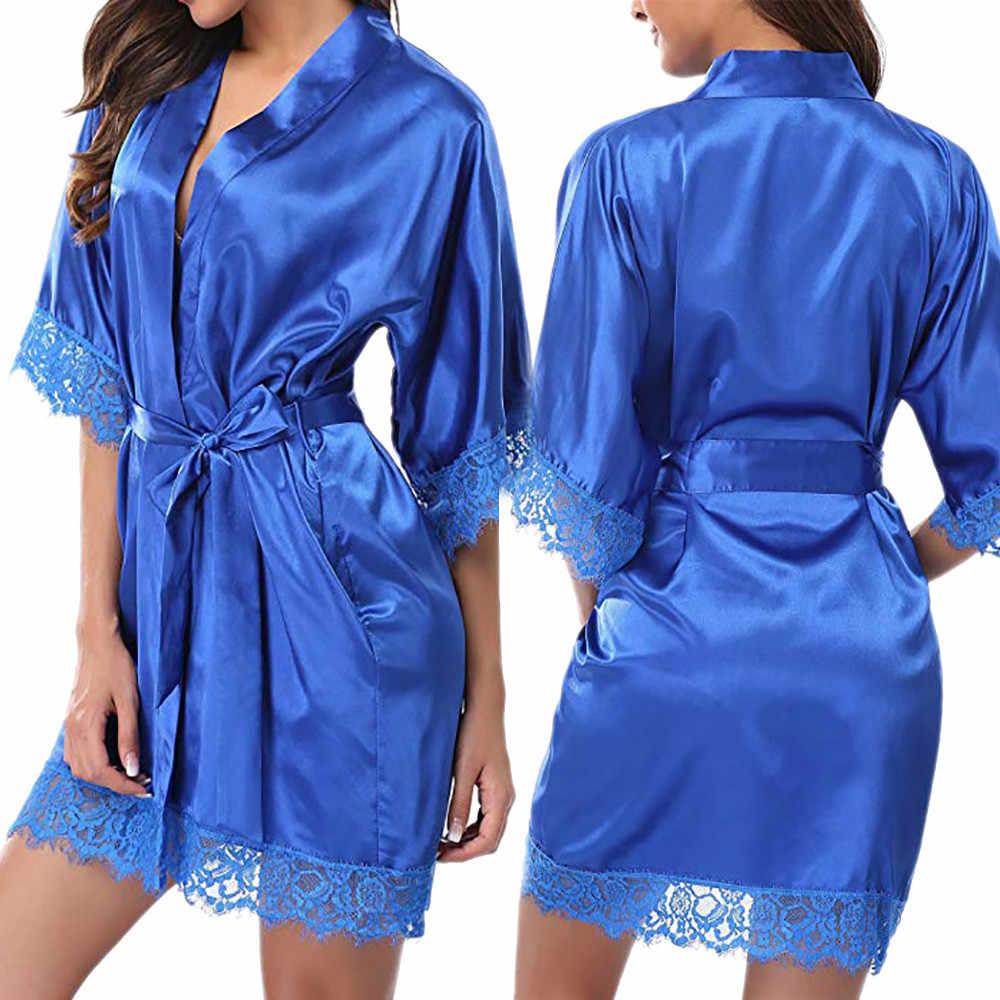 2020 חדש משי שמלת קימונו חלוק חלוק רחצה נשים משי הלבשת גלימות סקסי חיל הים כחול גלימות סאטן Robe לילה שמלת שמלות халат