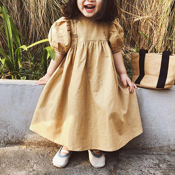 Children Dress Summer 2020 Hot Selling Childrenswear Girls KoreanColor Retro High-waisted Puff Sleeve Princess Dress