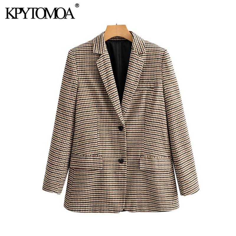 Vintage Stylish Office Wear Houndstooth Tweed Blazer Coat Women 2020 Fashion Long Sleeve Pocket Plaid Female Outerwear Chic Tops