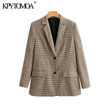 Vintage Stylish Office Wear Houndstooth Tweed Blazer Coat Women 2020 Fashion Long Sleeve Pocket Plaid Female Outerwear Chic Tops(China)