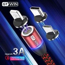 Gtwin 3a magnético micro cabo usb para iphone 12 11 xr samsung xiaomi carregamento rápido tipo c cabo usb-c ímã carregador de dados fio