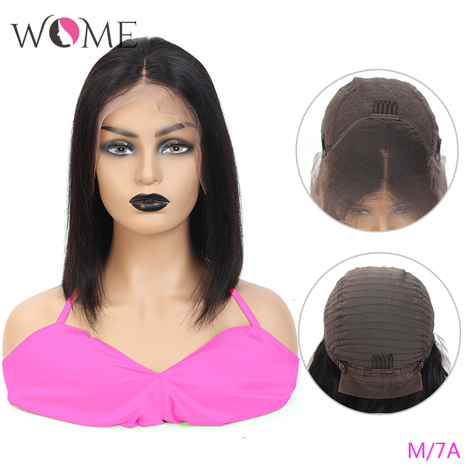 WOME Indian Straight Short Bob Wigs 13x4 Lace Front Human Hair Wigs For Women Pre Plucked Hairline 150% Middle Ratio Remy Hair
