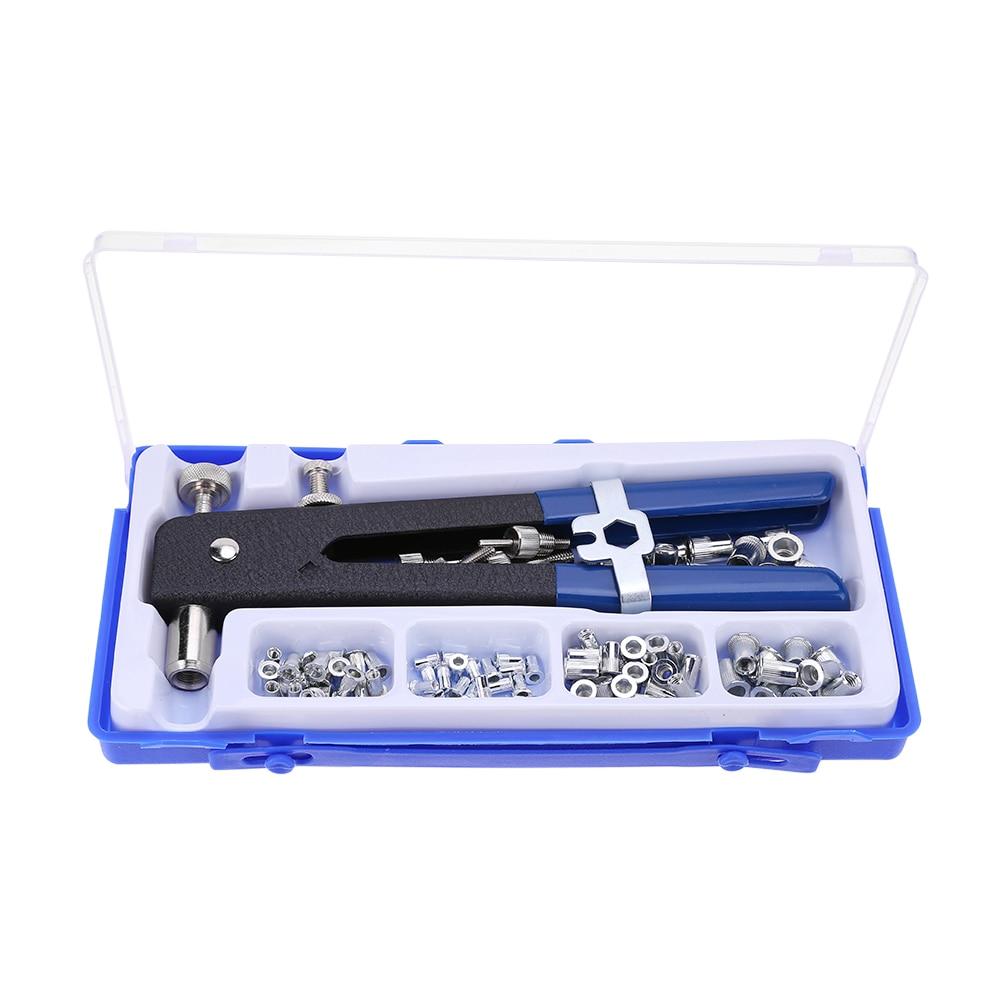 86pcs M3-M8 Hand Riveter Nut Rivet Gun Kit Threaded Nut Rive Tool With Rivnut Nutsert Riveting Kit For Household Repair Tools