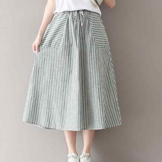 Faldas de verano para mujer Saia Falda Midi con bolsillos Japón Mori chica rayas de algodón y lino Vintage faldas largas DV993