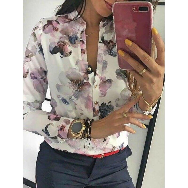 Hot Fashion 2020 Women Shirt Long Sleeve Autumn Blouse Work Office Elegant Shirt Floral Print Shirt Plus Size S-XL