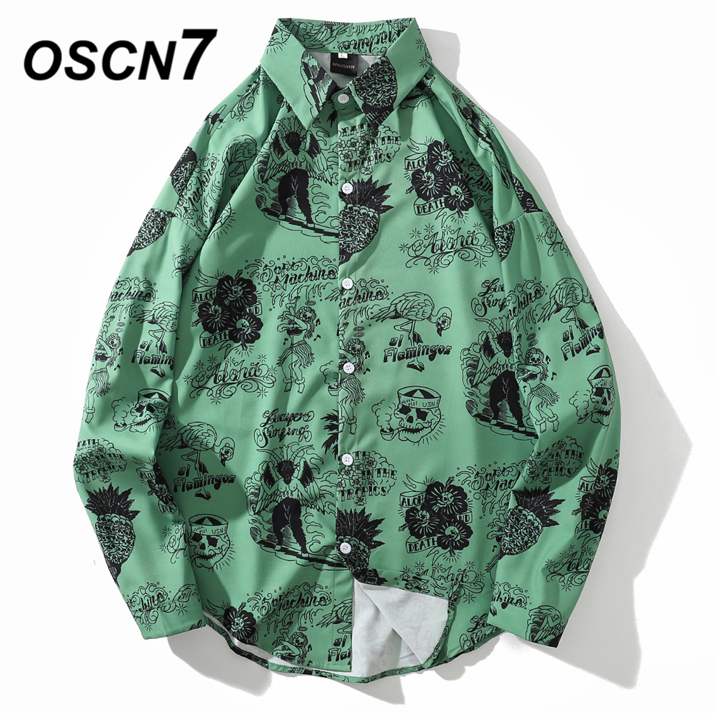OSCN7 Casual Printed Long Sleeve Shirt Men High High Streetwear 2019 Fall Women Shirt Retro Shirts Harujuku Mens Shirt 605