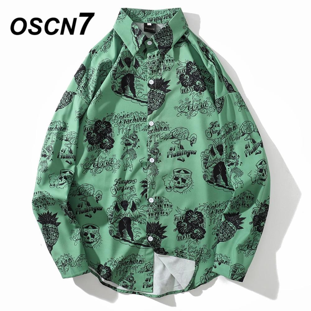 OSCN7 Casual Printed Long Sleeve Shirt Men High High Streetwear 2019 Fall Women Shirt Retro Shirts Harujuku Mens Shirt 605