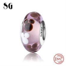SG sparkling Murano glass beads sterling silver 925 diy charms fit authentic pandora bracelets and necklace jewelry making gift цена