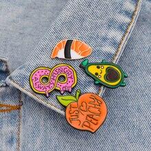 Zhijia cute Salmon sushi pink Donut Avocado baby peach fruit enamel label girl woman pins brooches fashion jewelry