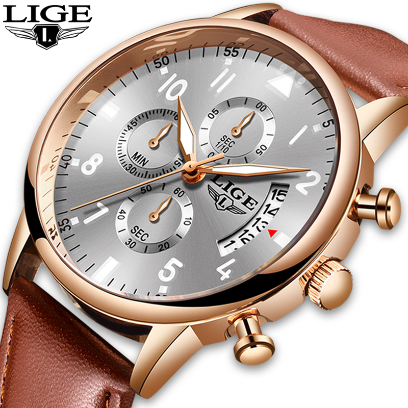 2020 New Rose Gold Men Watches Top Brand Luxury Leather Waterproof Quartz WristWatch Mens Fashion Sport Date Male Chronograph