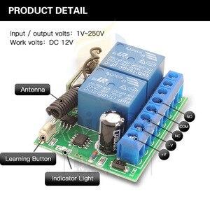 Image 4 - Interruptor de controle remoto dc 12v 10a 2ch, receptor sem fio, módulo de relé para rf 433mhz, iluminação remota de garagem, elétrica interruptor de porta