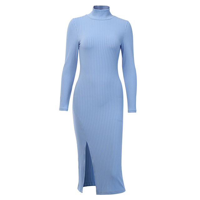 WannaThis Sexy Knee-Length Party Dresses Cotton Ribbed Knitted Turtleneck Solid Split Long Sleeve Autumn Mock Neck Elegant Dress 6