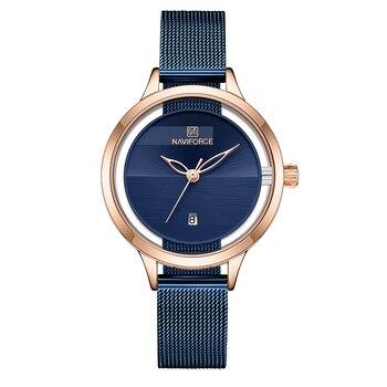 New NAVIFORCE Creative Simple Quartz Watch Women's Steel Mesh Dress Watches Girl Clock Ladies Bracelet Watch Relogios Feminino 8
