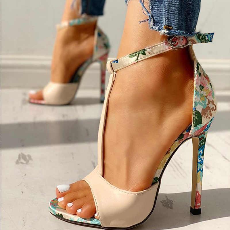 Kadın t-kayış sandalet seksi baskı Peep Toe bayanlar ince yüksek topuklu 2020 yaz moda rahat kadın ayakkabı ayak bileği kayış ayakkabı