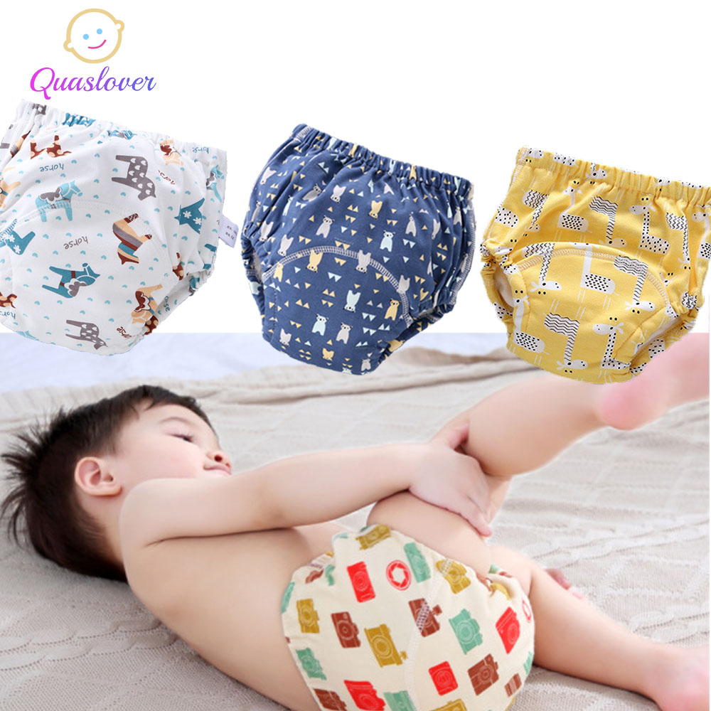6Layer Waterproof Reusable Baby Cotton Training Pants Infant Shorts Underwear Cloth Diaper Nappies Child Panties Nappy Changing(China)