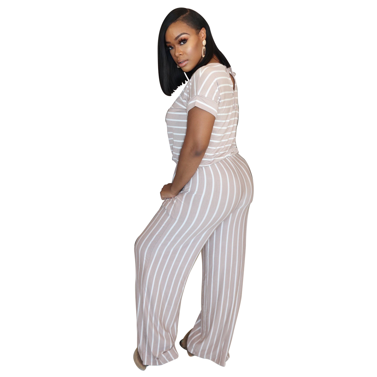 He8d4c06cc1334170b3cb981f7dc2c637E - Fashion Women Stripes Jumpsuits Summer New Arrival Short Sleeves Crew Neck Women Casual Rompers Loose Daily Wear Outfits