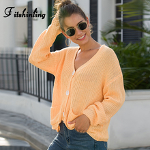 Fitshinling Autumn Winter Button Up Cardigan Female Sweater 2019 V Neck Pockets Knitted Jackets Women Cardigans Outerwear New button up v neck flat knitted cardigan