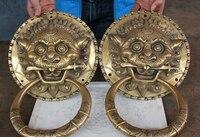SUIRONG 516+++14 CHINESE BRASS FENGSHUI FOLK BEAST HEAD SWORD STATUE GATE DOOR KNOCKER PAIR