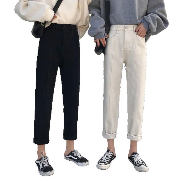 Jeans For Women High Waist Harem Pants Spring 2019 New Boyfriend Loose Ankle Length Black Denim Pants Plus Size