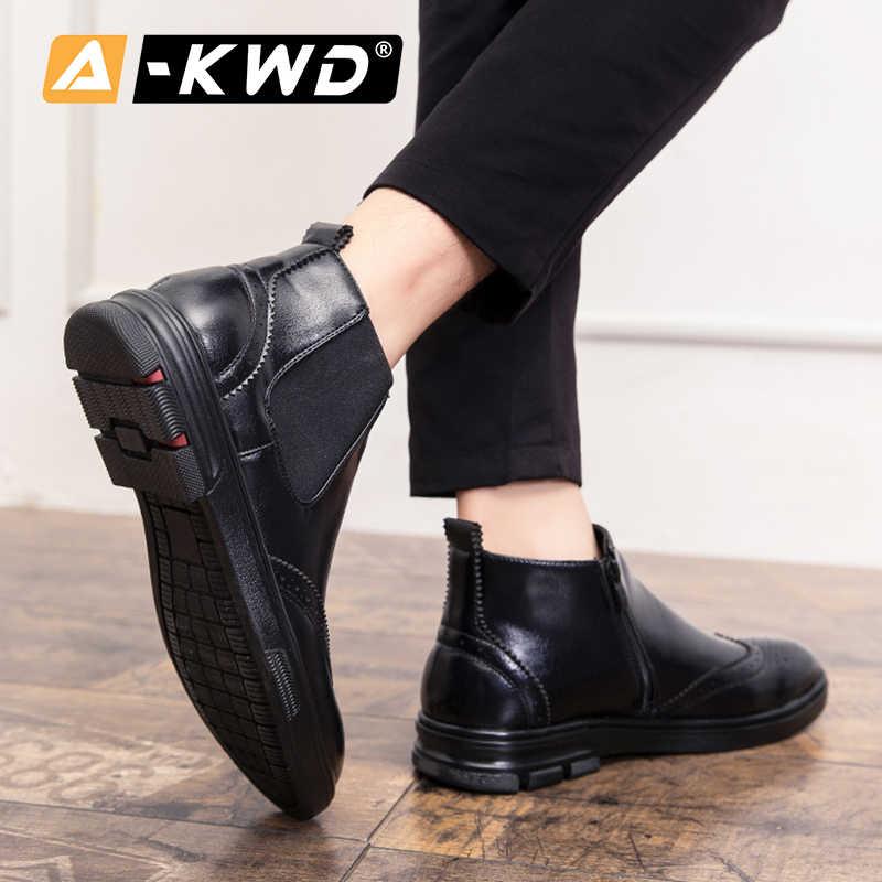 PU deri yarım çizmeler erkek kışlık botlar iş ayakkabısı erkekler yüksek üst Oxford erkek ayakkabısı siyah Sneakers adam yan fermuar deri Sneakers