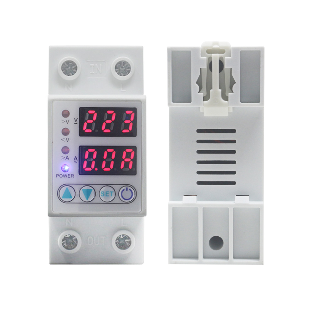 AC Voltmeter Ammeter Din Rail Household Self-resetting Over Under Voltage Protection Relay Current Protector 40A/63A AC 220V