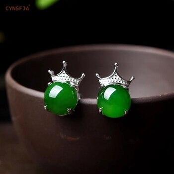 CYNSFJA Real Certified Natural Hetian Jade Jasper 925 Sterling Silver Amulets Crown Green Jade Earrings High Quality Best Gifts