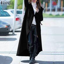 2020 ZANZEA Fashion Zipper Asymmetrical Coats Women's Jackets Casual Hooded Long