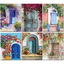Flores porta diy pintura por números desenho da lona figura de girassol pintura a óleo pintados à mão decoração casa presente