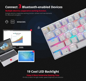 Image 4 - Motospeed CK62 Wired/Wireless Bluetooth Mechanical Keyboards 61 Keys RGB LED Backlit Gaming Keypad for Win iOS Android Laptop PC