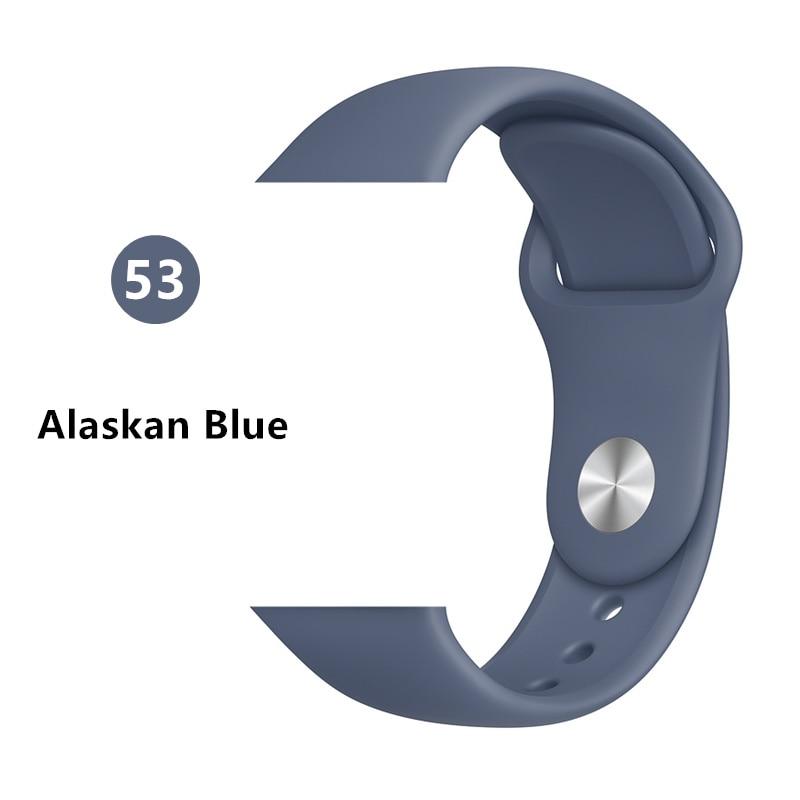 Ремешок для Apple Watch 38 мм 42 мм iWatch 4 ремешка 44 мм 40 мм спортивный силиконовый ремень браслет Apple watch 5 4 3 2 Аксессуары для ремешка - Цвет ремешка: Alaskan Blue