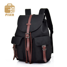 Large Capacity Vintage Canvas Backpacks Drawstring Women Travel Bag Laptop Teenagers Student Rucksack Men Backpack Leather Belt Black