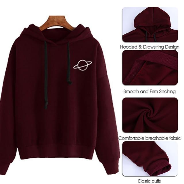 Adisputent 2020 Women Hoodies Casual Planet Print Solid Color Loose Drawstring Sweatshirt Fashion Long Sleeve Hooded Female Tops 6