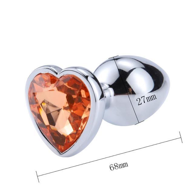 Size Diamond anal plug metal heart orange