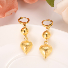 Dubai India Africa gold earrings heart gold bead girls engagement wedding jewelry  party gifts цена 2017