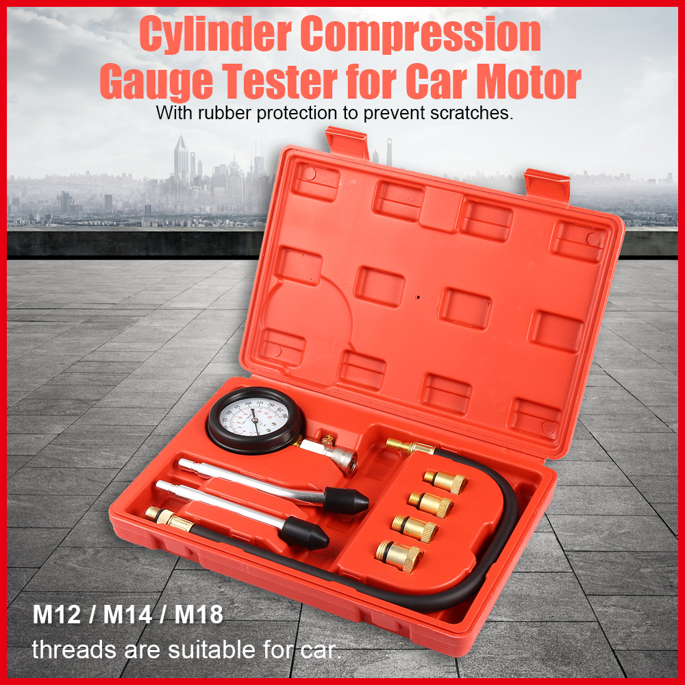 9pcs Petrol Gas Engine Cylinder Compressor Gauge Meter Test Pressure Compression Tester Leakage Diagnostic Car Motor Repair Too