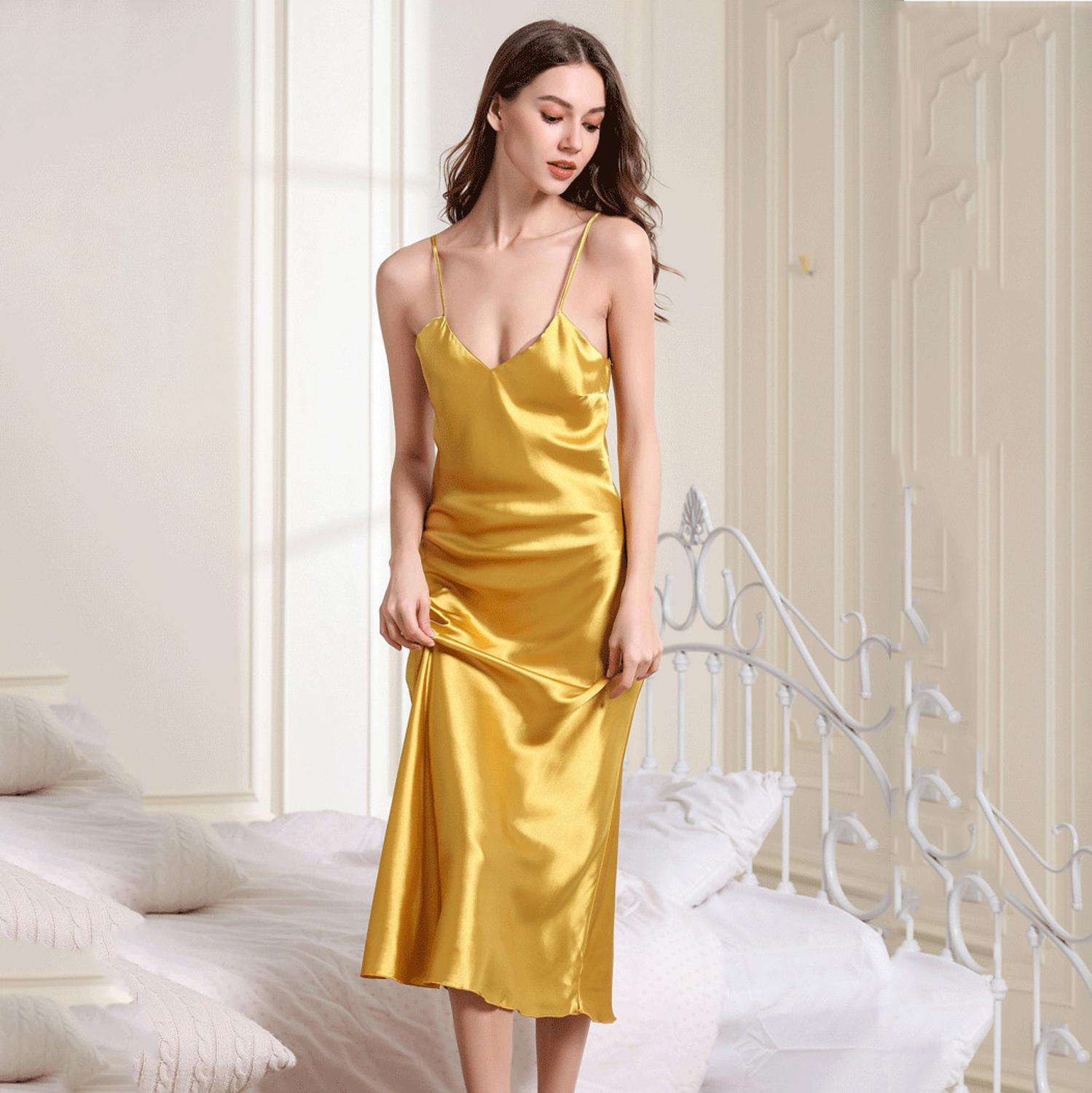 Sexy Long Sleep Dress Satin Rayon Sleepwear Solid Nightie Nightgown Women Nightdress Intemate Lingerie Women Nightwear Bath Gown